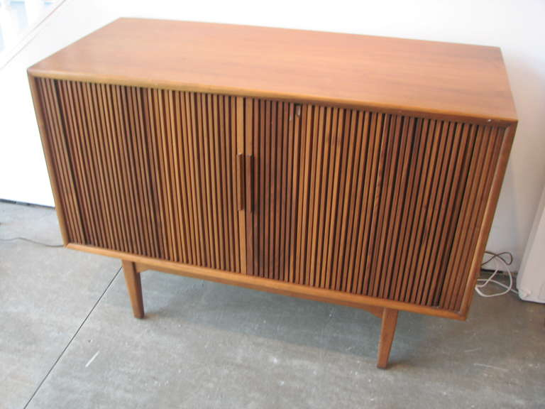 Danish Modern Teak Tambour Door Cabinet At 1stdibs