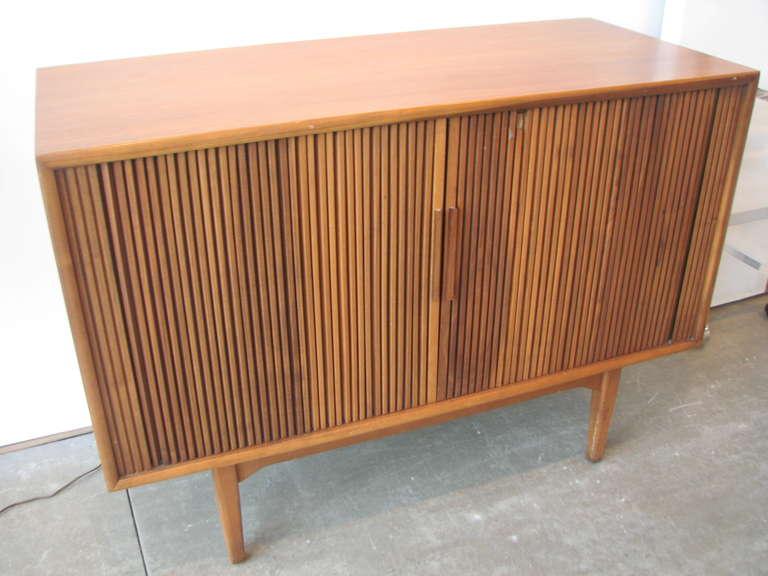 Danish Modern Teak Tambour Door Cabinet 3