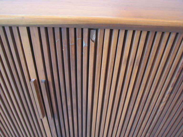 Mid-20th Century Danish Modern Teak Tambour Door Cabinet For Sale