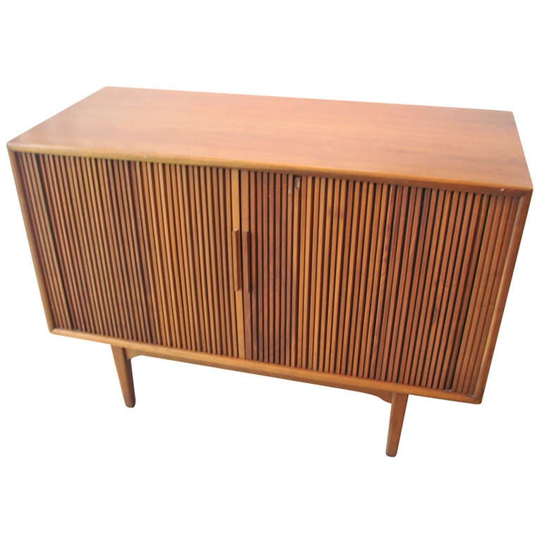 Danish Modern Teak Tambour Door Cabinet For Sale at 1stdibs