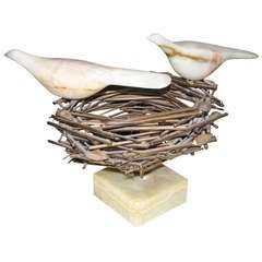 Rare Curtis Jere mixed-material Sculpture Bird Nest, Birds and Eggs; signed.