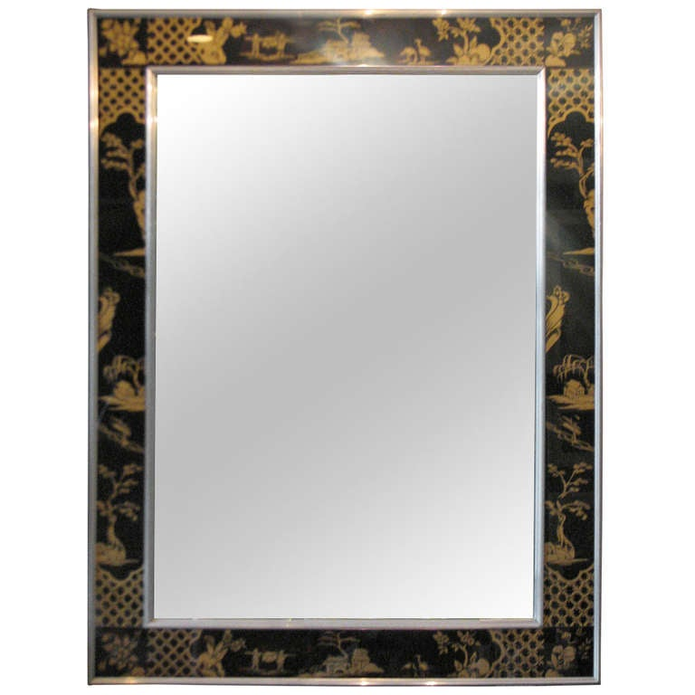 Rare Symmetrically-Framed La Barge Mirror Feat. Eglomise in Black and Gold For Sale