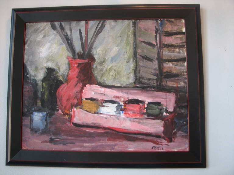 Pink acrylic still life by M. Pottus.