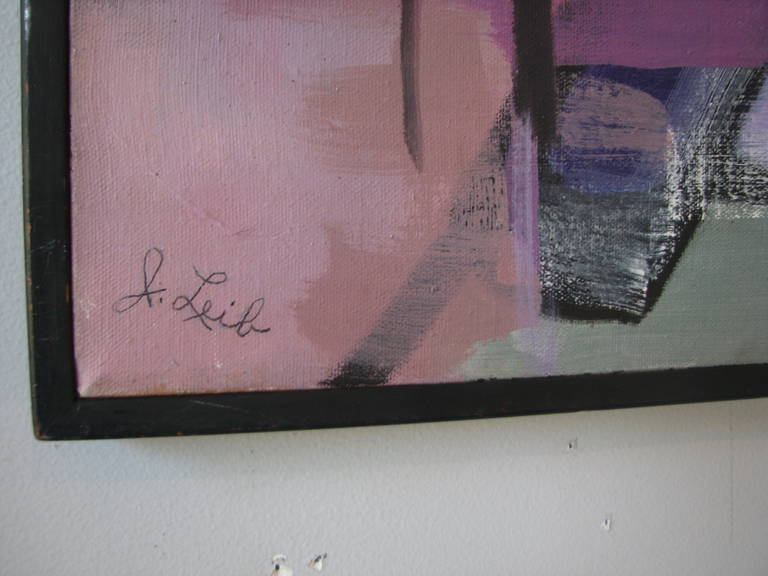 Mid-Century Modern Grey, Pink and Red Abstract by J. Lieb For Sale