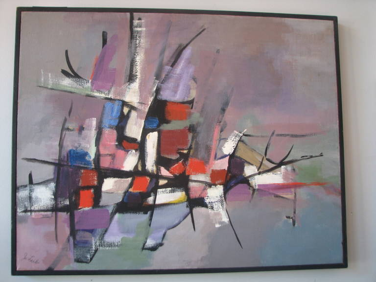 Grey, pink and red acrylic abstract by J. Lieb.