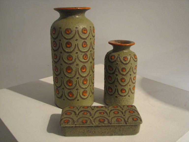 Three-Piece Green and Orange Italian Pottery Set 2