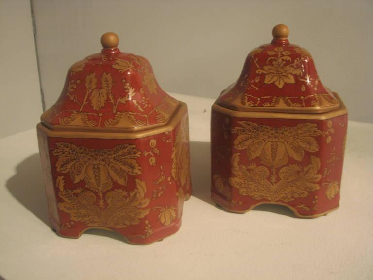 Pair of square ceramic printed jars Ginger color.