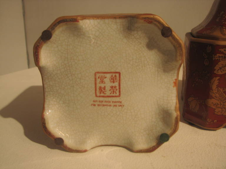 Japanese Pair of Square Ceramic Printed Jars For Sale