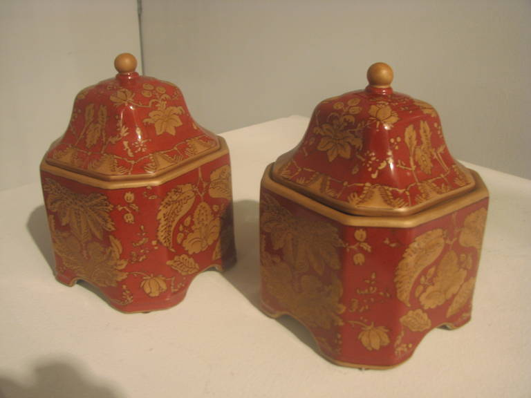 Mid-Century Modern Pair of Square Ceramic Printed Jars For Sale