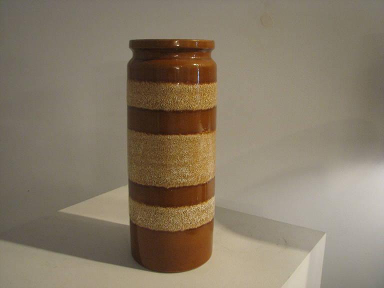 German caramel striped ceramic vase.