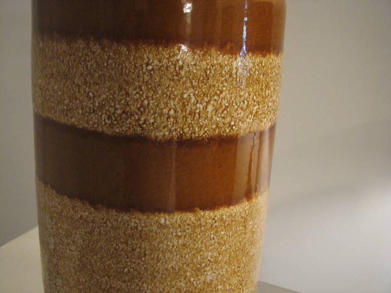 Mid-Century Modern German Caramel Striped Ceramic Vase For Sale
