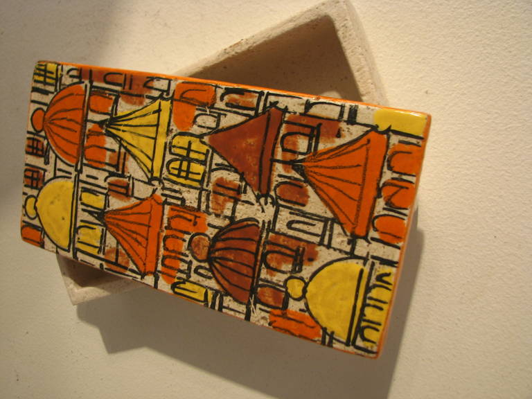 Italian Raymor Three-Piece Ceramic Cigarette Box and Ashtray Set For Sale