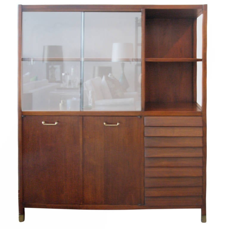 Walnut Buffet With Glass Doors At 1stdibs