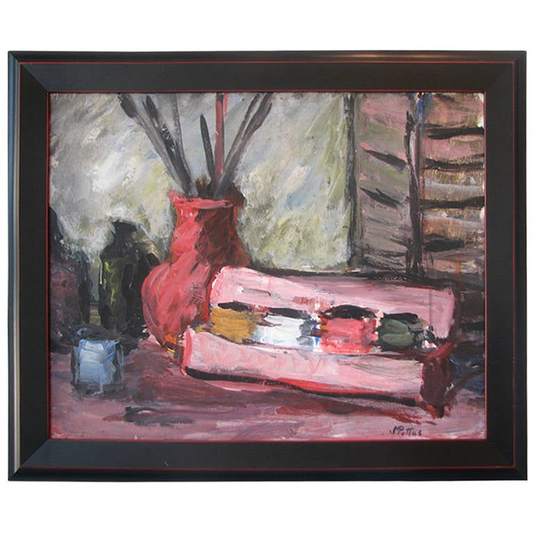 Pink Acrylic Still Life by M. Pottus For Sale