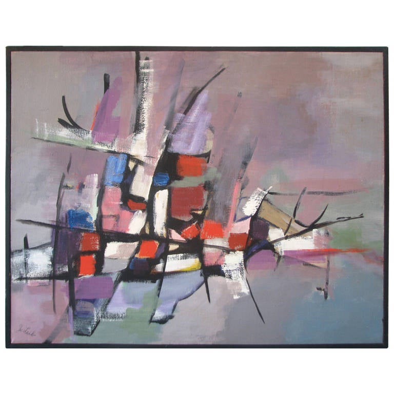 Grey, Pink and Red Abstract by J. Lieb For Sale