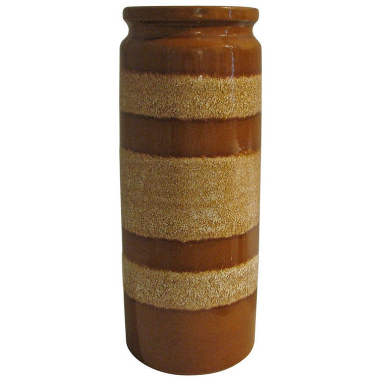 German Caramel Striped Ceramic Vase For Sale