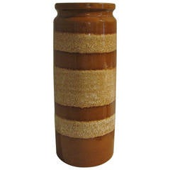 German Caramel Striped Ceramic Vase