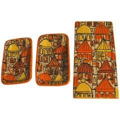 Raymor Three-Piece Ceramic Cigarette Box and Ashtray Set