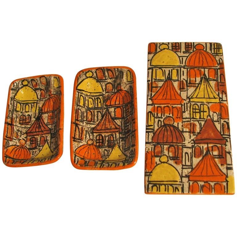 Raymor Three-Piece Ceramic Cigarette Box and Ashtray Set For Sale