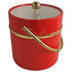 Red Acrylic and Brass Accent Ice Bucket