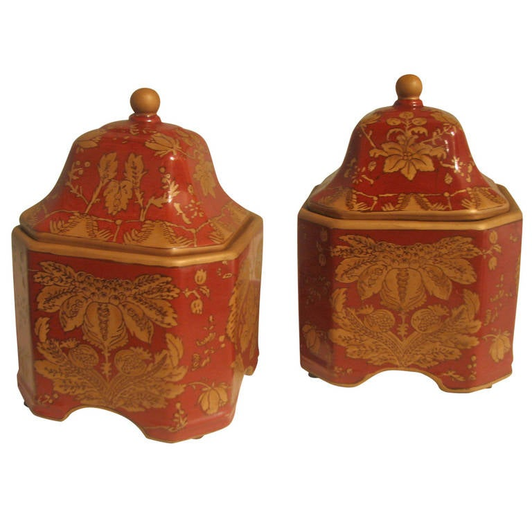 Pair of Square Ceramic Printed Jars For Sale