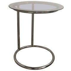Chrome Side Table with Smoke Glass Top