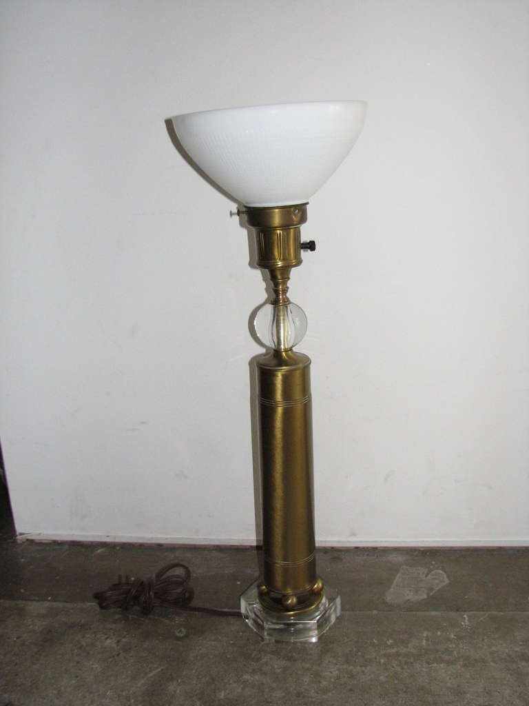 Pair of Deco Style Brass and Glass Lamps 2
