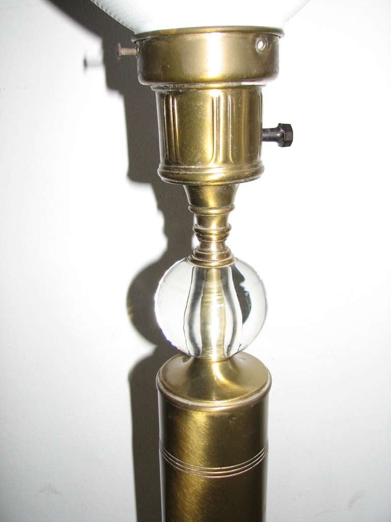 Pair of Deco Style Brass and Glass Lamps 3