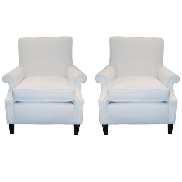 Pair Of 1950 S White Upholstered Club Chairs For