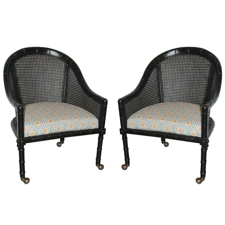 Pair of Ficks Reed Faux Bamboo Chairs at 1stdibs