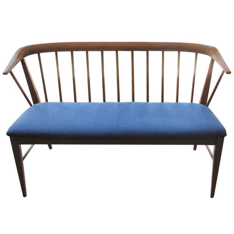 Danish Modern Walnut Deacons Bench