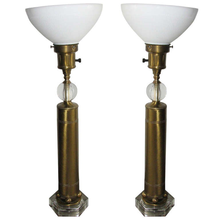 Pair of Deco Style Brass and Glass Lamps 1