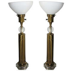 Pair of Deco Style Brass and Glass Lamps