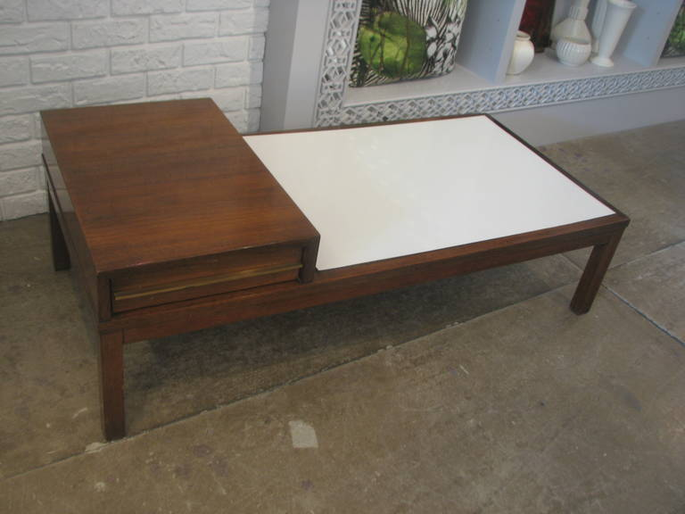 Mid-Century Coffee Table with White Laminate Top 3