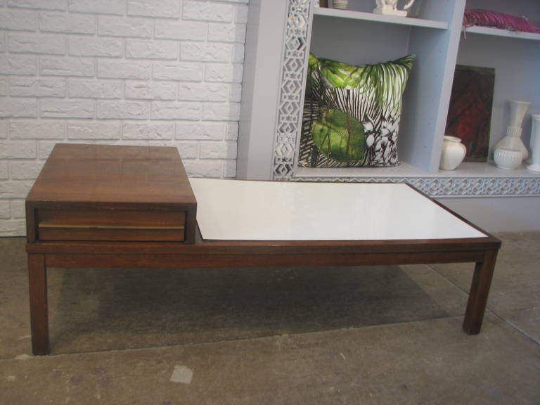 Mid-Century Coffee Table with White Laminate Top 2