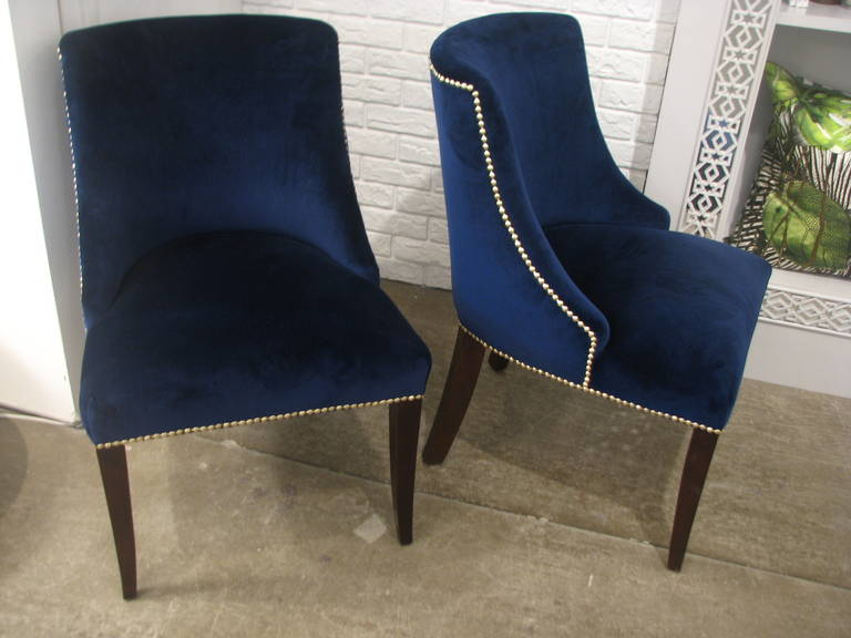 Set Of Eight Dining Chairs With Blue Velvet Fabric And
