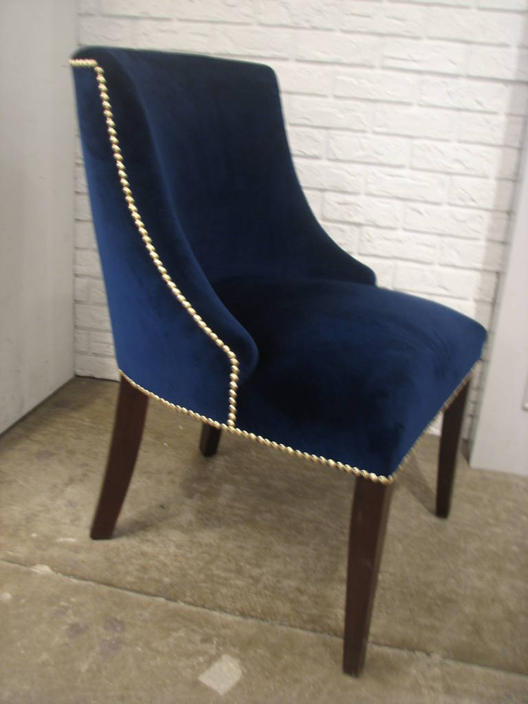 Set of eight dining chairs with blue velvet fabric and for Dining room velvet chairs