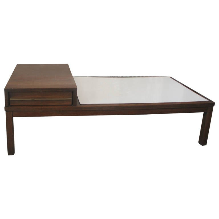 Mid-Century Coffee Table with White Laminate Top 1