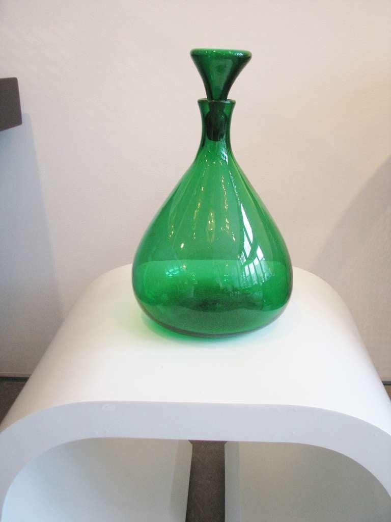 Kelly Green Blenko Vase with Stopper 2