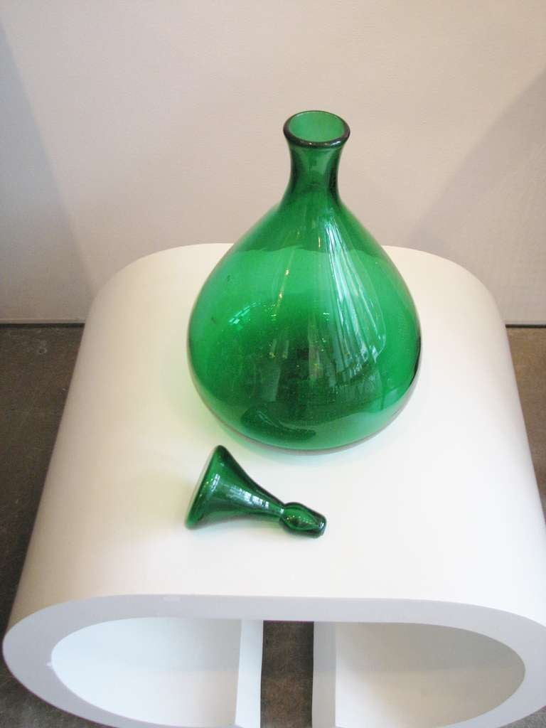 Kelly Green Blenko Vase with Stopper 3