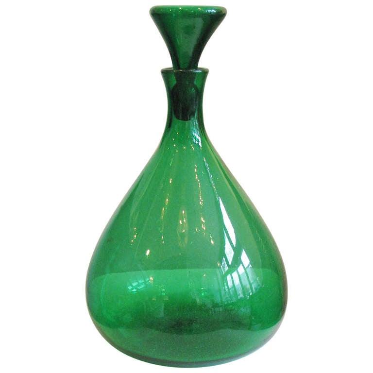 Kelly Green Blenko Vase with Stopper 1