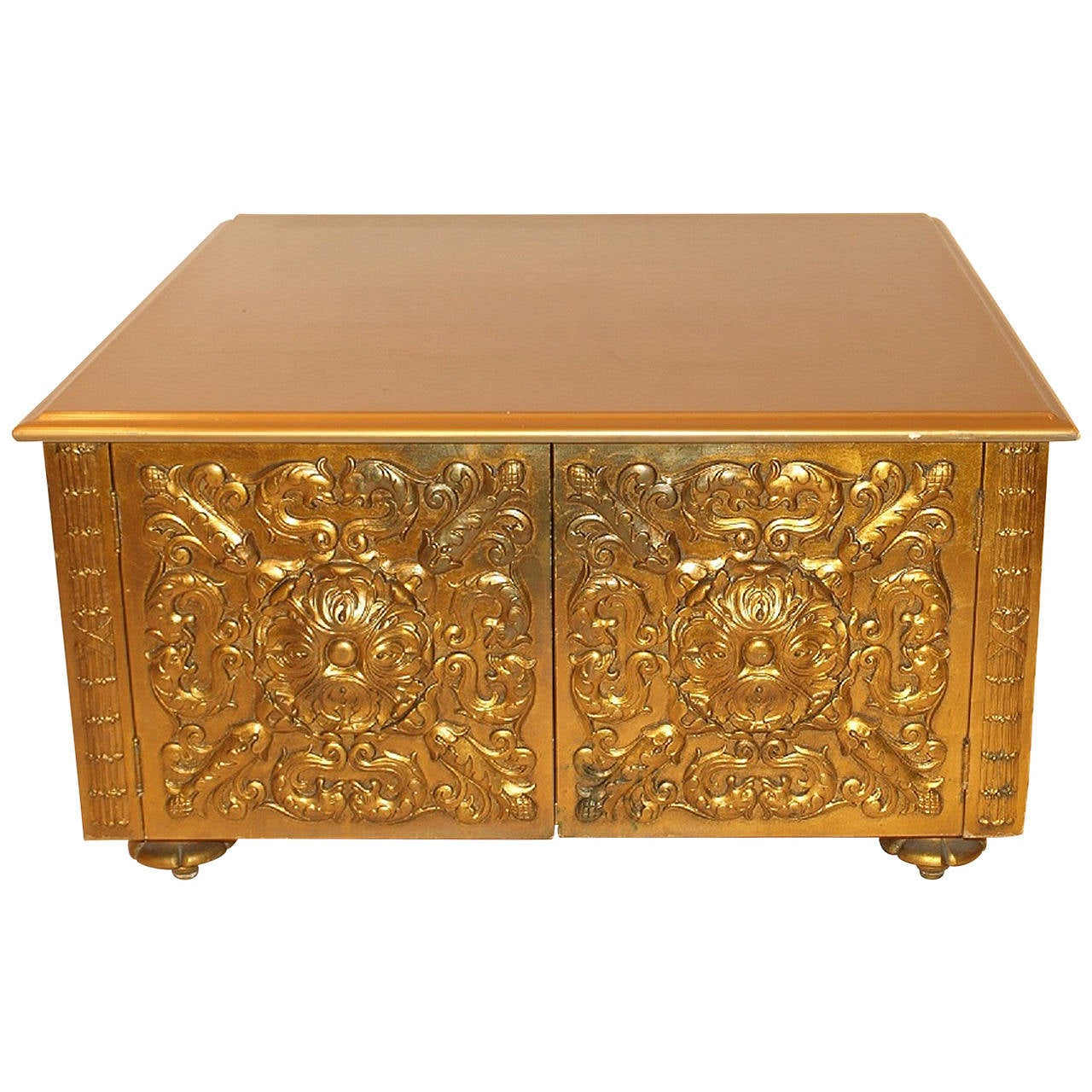 Hollywood Regency Gold Coffee Cocktail Table At 1stdibs