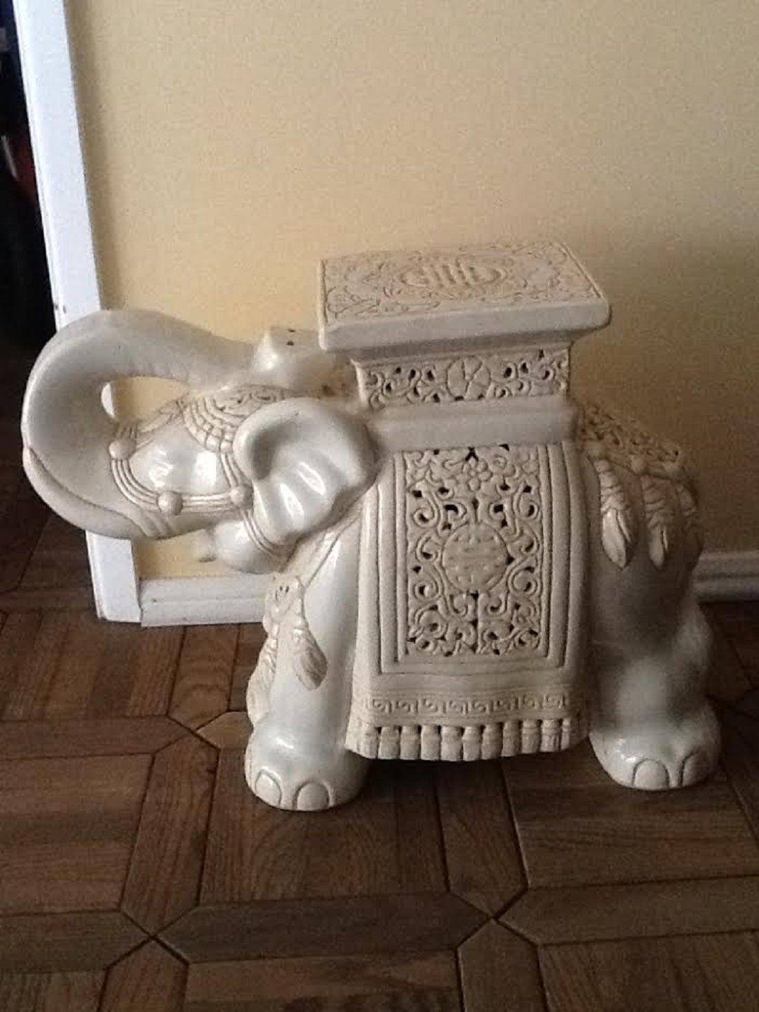 Vintage Large Elephant Glazed Ceramic Garden Stool At 1stdibs