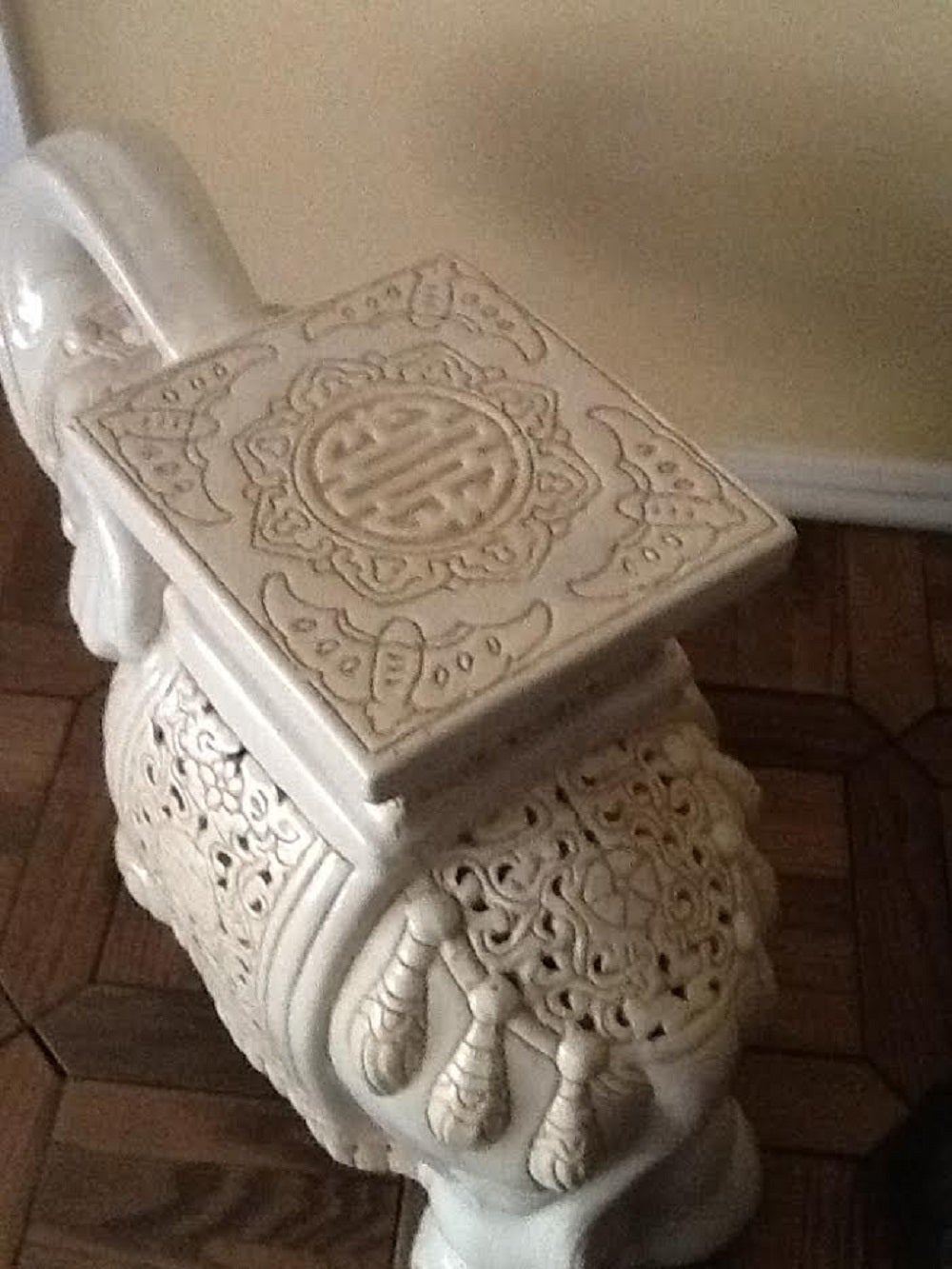 Vintage Elephant Garden Stool.RESERVED FOR ABBY Large Hollywood ...