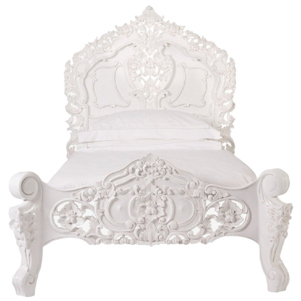 French louis xv baroque style bed in twin size at 1stdibs for Baroque style bed