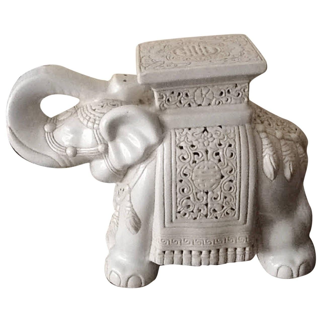 Vintage Large Elephant Glazed Ceramic Garden Stool At 1stdibs