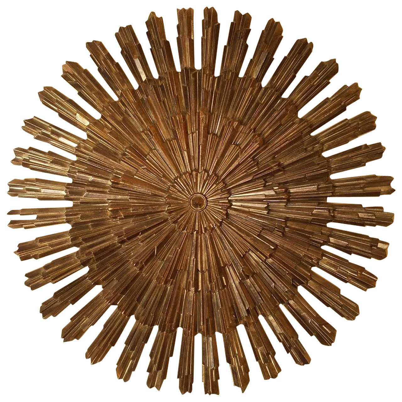 Sunburst starburst wood wall decor at 1stdibs - Sculpture wall decor ...