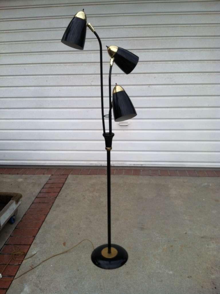 Mid Century Modern Black And Gold Floor Lamp At 1stdibs