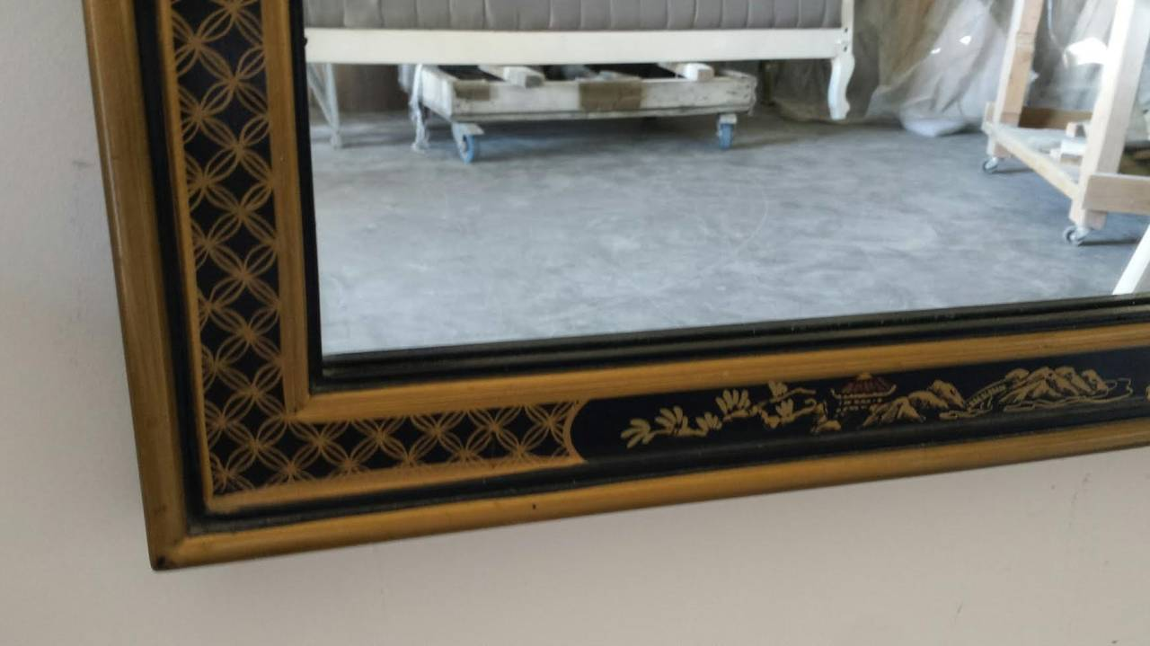 Mirror large mid century asian style wall mirror by drexel for Asian style mirror