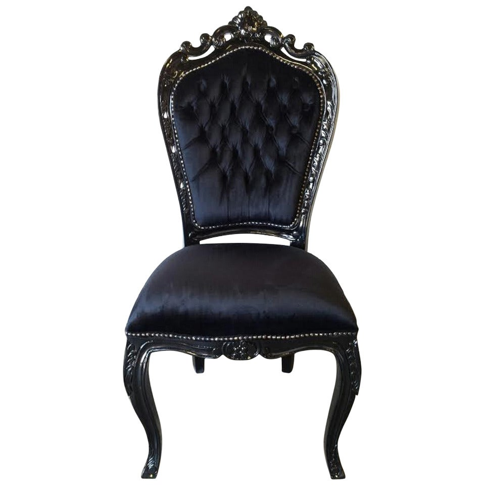 French Louis XV Rococo Style Desk Chair In Black At 1stdibs